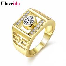 engagement ring for men uloveido 2018 new engagement ring men fashion gold color ring