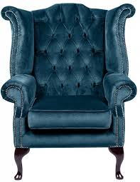 City Queenanne Chair Crushed Velvet Blue Chesterfield Sofa Made - Chesterfield sofa uk