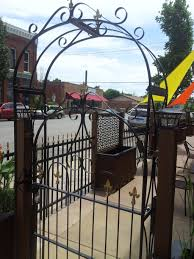 Metal Arbor With Gate Wrought Iron Large Handmade Arbor Gate