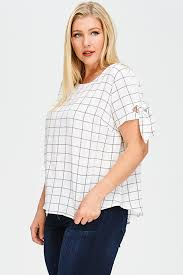 plus size white blouses shop plus size white checker grid print tie sleeve boho
