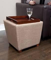tapered fabric storage ottoman with tray tan walmart canada