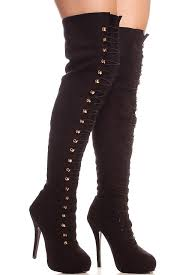 womens boots the knee black faux suede loop closure the knee thigh high heel boots