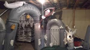 Gemmy Halloween Inflatable by Gemmy 10ft Long Cemetery Gateway Lightshow Inflatable Review Youtube