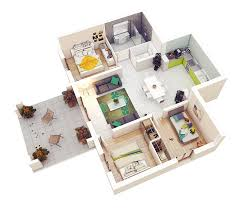 house design with floor plan 3d 20 designs ideas for 3d apartment or one storey three bedroom floor