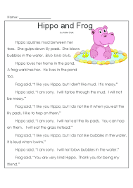 hippo and frog comprehension reading comprehension and second grade