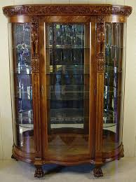 curved glass china cabinet oak curved glass china cabinet with carved griffins