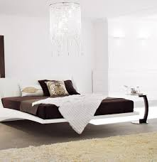 bedroom simple floating bed frame with benches and comfy bed