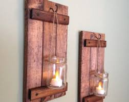 Rustic Wall Decor Wooden Candle Holder Rustic Wall Sconce Mason Jar Candle