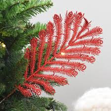 haochu 10pcs lot gold red artificial leaves feather christmas