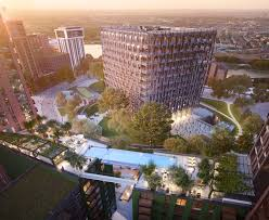 london glass building sky pool at embassy gardens london nearby hotels shops and