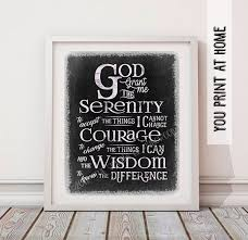 serenity prayer picture frame printable instant serenity prayer chalkboard print