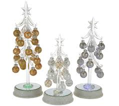 kringle express s 3 graduated glass trees with metallic ornaments