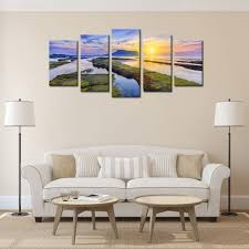 low price for framed canvas wall art river mouth sunrise canvas