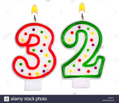 number birthday candles birthday candles number thirty two stock photo 86373836 alamy