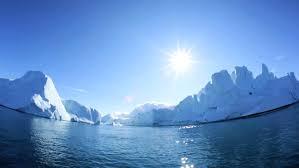 fisheye disko bay greenland floating glacial iceberg frozen water