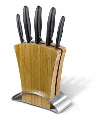 classic bamboo knife block set 6 pieces