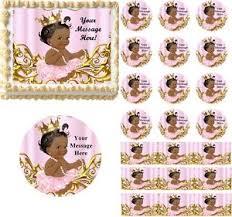 vintage dark skin princess baby edible cake topper image cupcakes