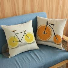 simple lemon orange wheels bike throw pillow cases for living room