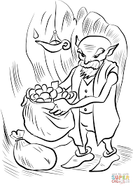 old gnome collecting gold coloring page free printable coloring