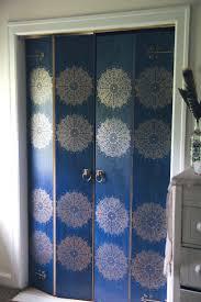 Masonite Bifold Closet Doors Boring Masonite Bifold Closet Doors Transformed With Blue Paint