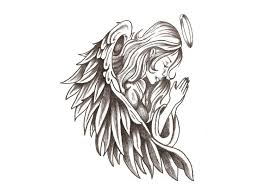 praying angel tattoo design stencil