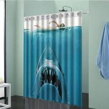 Polyester Shower Curtains 150x180cm Shark Pattern Waterproof Polyester Shower Curtain