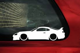 toyota supra drawing 2x low car outline stickers toyota supra mk4 twin turbo rz jdm