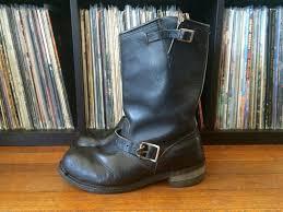 vintage mens carolina black leather harness engineer boots