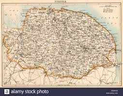 Essex England Map by Map Of Norfolk England 1870s Stock Photo Royalty Free Image