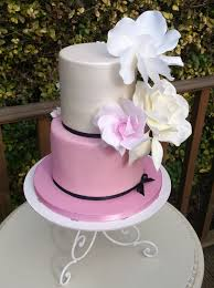 2 tier cream and pink cake with flowers wedding wedding cakes