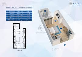 azizi aura studio apartment type 1 floor plan