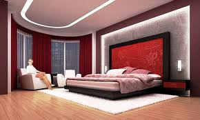 red bedroom ideas with beautiful ceiling and headboard light ideas