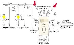wiring an outlet to a light switch gfci receptacle with a light fixture an onoff switch in for wiring