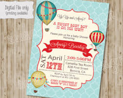 air balloon bridal baby shower invitation watercolor