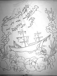 drawn ship sunken pencil and in color drawn ship sunken