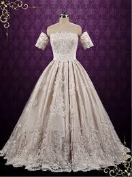 classic lace ball gown wedding dress with detached sleeves