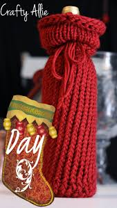 crafty 12 days of day 9 knitted wine bottle cover