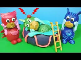 pj masks play doh gekko swimming pool accident safety stop motion