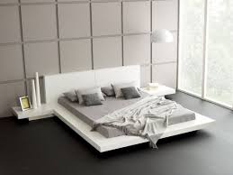 white modern japanese style platform bed frame with floating