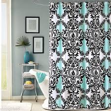 Black And White Drapery Fabric Black White And Aqua Damask Mia Shower Curtain New Fleur De Lis