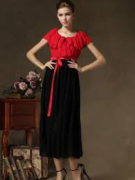 365 days return new style red top ruffled collar maxi dress with