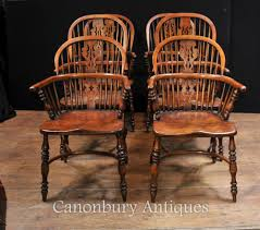 Oak Table With Windsor Back Chairs Handsome Set Of 6 Antique Windsor Kitchen Dining Chairs U003cbr