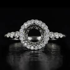 semi mount engagement rings vintage halo semi mount engagement ring 6mm 6 5mm 1 carat