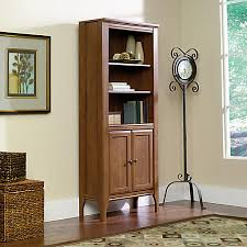 Office Depot Bookcases Wood Sauder Appleton Library Bookcase With Doors 5 Shelves Sand Pear By