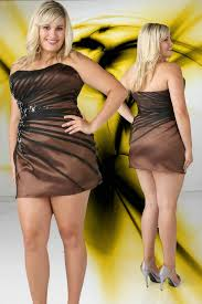 strapless ruched two toned mini beaded brown plus size short