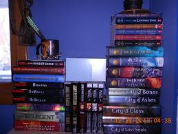 my book shelf containing the hunger trilogy divergent