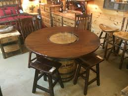 Jack Daniels Whiskey Barrel Pub Table Rustic Dining Tables - Barrel kitchen table