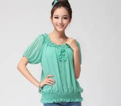 elastic waist blouse 2014 s chiffon green shirt summer plus size slim