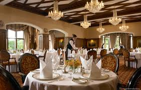 the george v dining room at ashford castle near the village of