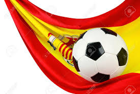 Flags In Spanish Soccer Ball On A Spanish Flag Hanging In A Spiffy Way As A Symbol